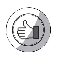 sticker grayscale contour of pixel thumb up inside vector image