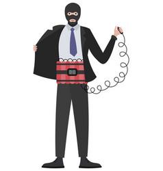 Suicide attack in minimalist style cartoon flat vector