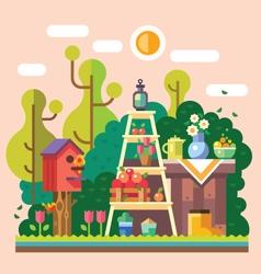Summer in garden vector