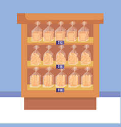 Supermarket shelving with bread bags vector