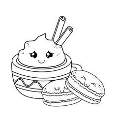 sweet cookie with chocolate mug pastry kawaii vector image