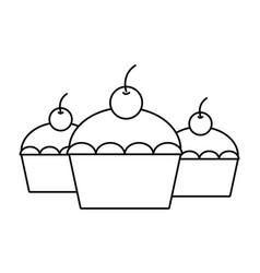 sweet cupcakes dessert vector image