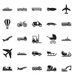 Transit icons set simple style vector