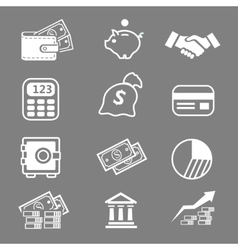 Trendy business and economics white icons set vector image vector image