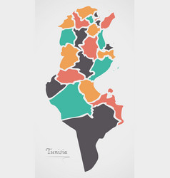 Tunisia map with states and modern round shapes vector