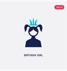 Two color birthday girl icon from birthday party vector