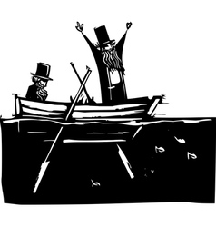 Two Men in a Boat vector image