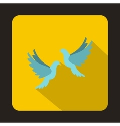Two white pigeons icon flat style vector image