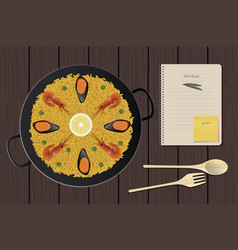 typical spanish paella with prawns and mussels vector image
