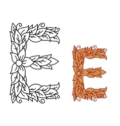Uppercase letter E in a floral and foliate design vector image