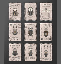 vintage colored insects stamps set vector image