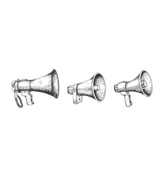 vintage megaphone hand drawn loud speaker for vector image