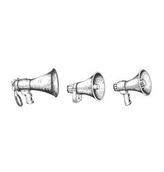 Vintage megaphone hand drawn loud speaker vector