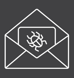 Virus in email line icon spam and security vector