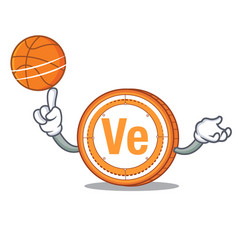 With basketball veritaseum coin character cartoon vector