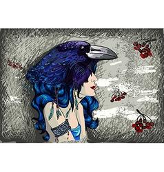 Woman in raven costume vector