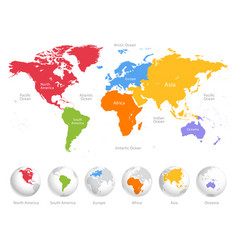world map divided into six continents each vector image