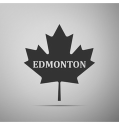 Canadian maple leaf with city name Edmonton flat vector image