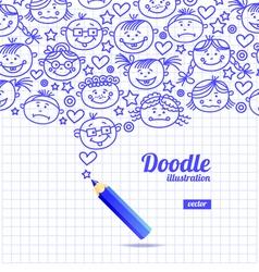 Doodle kid cartoon design vector image