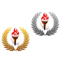 Flaming torch laurel wreath vector image vector image