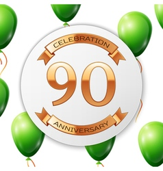 Golden number ninety years anniversary celebration vector image vector image