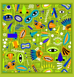 kids green bandana with monster pattern vector image