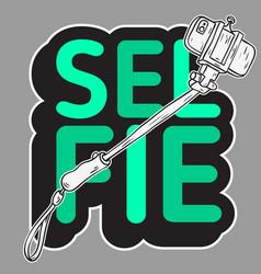 selfie stick design isolated artistic cartoon hand vector image vector image