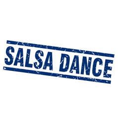 square grunge blue salsa dance stamp vector image