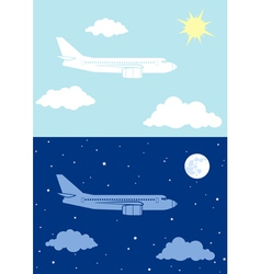 Aircplane flying in the sky vector image