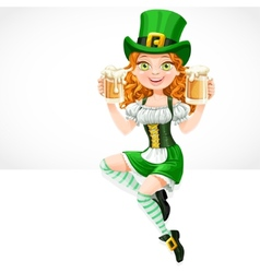 Cute red-haired girl leprechaun sitting on the vector image