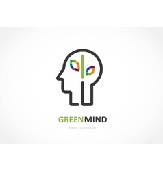 green mind- abstract colorful icon of human head vector image vector image