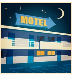 motel at night old poster vector image vector image