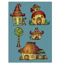 Set of color cartoon houses vector image vector image