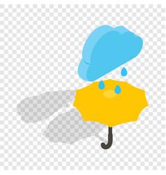 umbrella and rain isometric icon vector image
