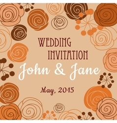 Wedding invitation template with floral border vector image