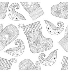 Winter knitted mittens socks seamless pattern in vector image vector image