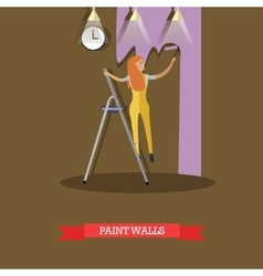 woman painting wall in flat vector image