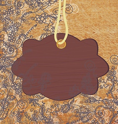 Wooden frame on the abstract floral background vector image