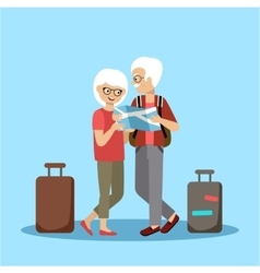 Couple of elderly people travel vector image vector image