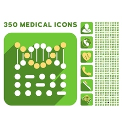 Genetic Code Icon and Medical Longshadow Icon Set vector image vector image
