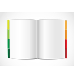 Opened paper album with color bookmarks vector image vector image