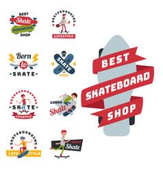 skateboarders people tricks silhouettes sport vector image