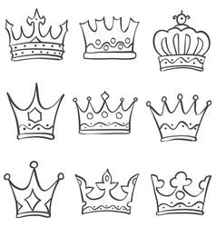 sketch crown various doodle set vector image vector image