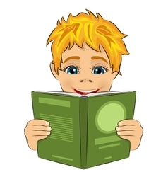 surprised little boy reading interesting book vector image vector image