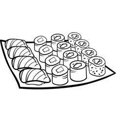 sushi lunch cartoon coloring page vector image vector image