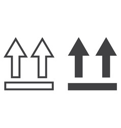 This side up symbol line and glyph icon vector