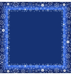 Winter blue frame with decorative snowflakes vector image