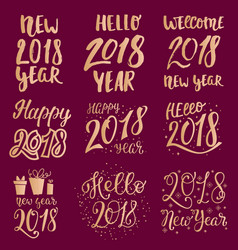 2018 happy new year gold text logo for holiday vector image