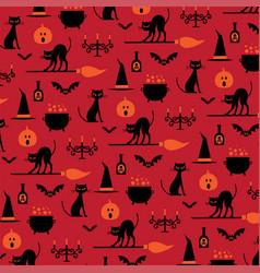halloween icons pattern on orange vector image