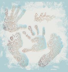 imprint of children s palms and feet mehendi set vector image